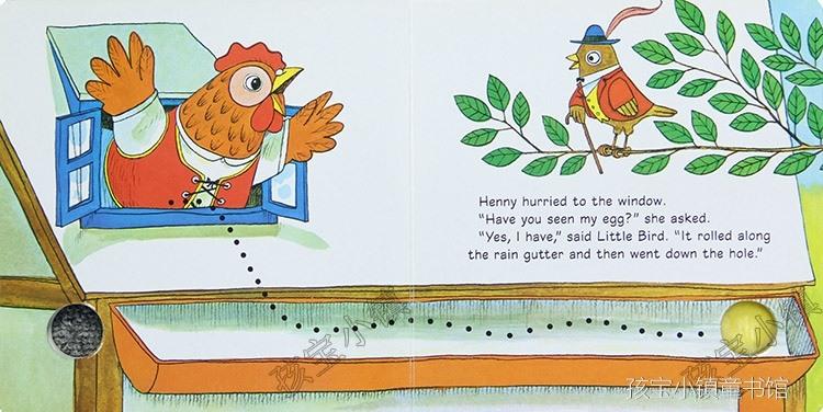 henny很着急,到处问小动物们有没有看到她的蛋,她问了山羊,小鸟,小猪